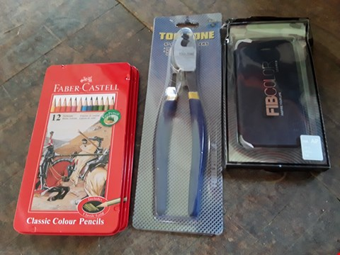 "Lot 11157 BOX OF ASSORTED ITEMS TO INCLUDE FABER CASTLE CLASSIC COLOUR PENCILS SET, TOOLZONE 8"" CABLE CUTTERS AND FIB COLOUR PHONE CASE (BOX NOT INCLUDED)"