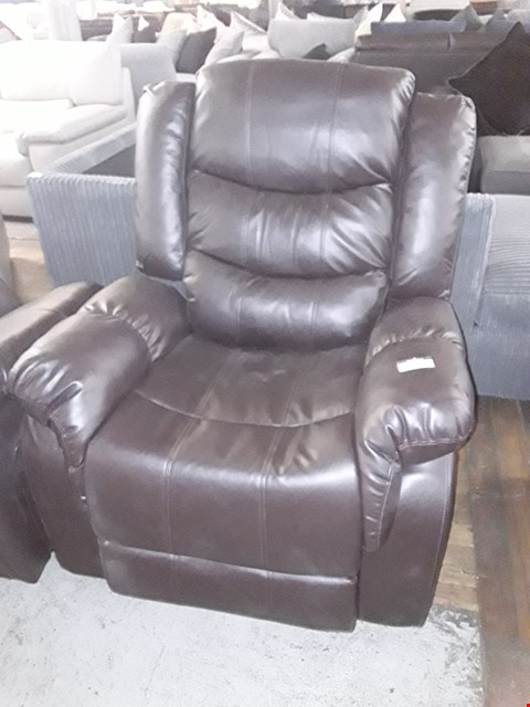 Lot 2002 DESIGNER BROWN LEATHER MANUAL RECLINING EASY CHAIR