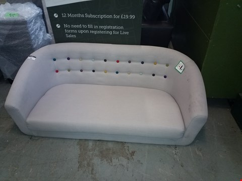 Lot 89 DESIGNER GREY FABRIC MULTICOLOURED BUTTON BACK 2 SEATER SOFA
