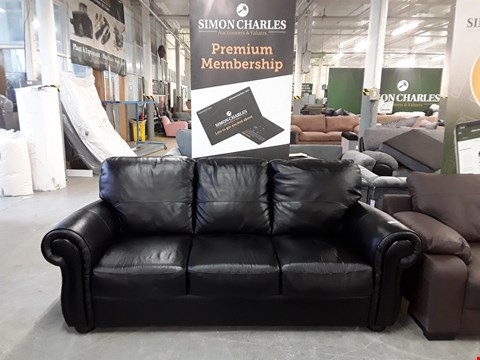 Lot 20 DESIGNER BLACK FAUX LEATHER THREE SEATER SOFA