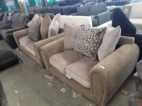 Lot 80 DESIGNER TWO TONE CARAMEL FABRIC 2 AND 3 SEATER SOFAS WITH SCATTER BACK CUSHIONS
