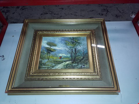 Lot 13916 BOXED MAGENTA SCENIC WOODLAND WALK ORIGINAL SIGNED OIL PAINTING WITH  DECORATIVE GOLD PAINTED FRAME