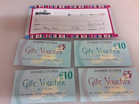Lot 53 5 ASSORTED GIFT VOUCHERS TO INCLUDE BROOKLYN RESTAURANT PIZZERIA AND DUNES STORE TOTAL VALUE €80