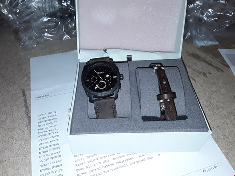 Lot 9318 FOSSIL MACHINE WATCH AND LEATHER CUFF BRACELET  RRP £200.00