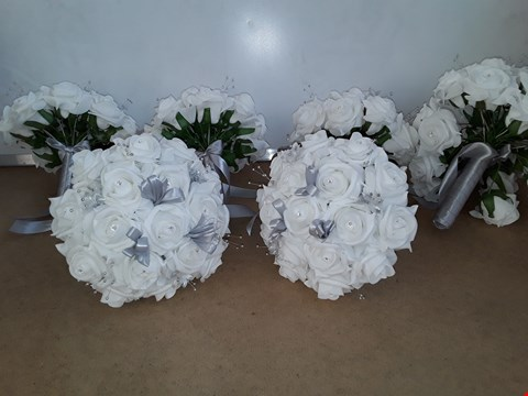 Lot 6073 BOX OF APPROXIMATELY 7 BOUQUET OF ARTIFICIAL WHITE ROSES
