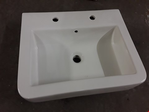 Lot 466 BOXED WATERMARK 530 2-TAP WHITE CERAMIC BASIN  RRP £120