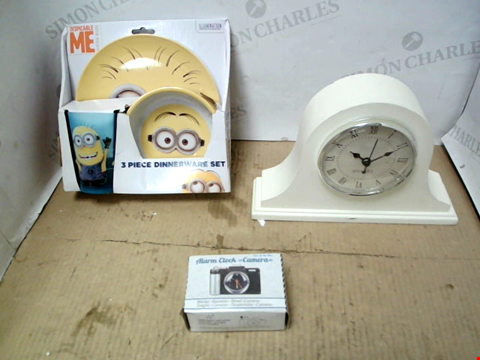Lot 11600 BOX OF LARGE QUANTITY OF ASSORTED HOUSEHOLD ITEMS TO INCLUDE DESPICABLE ME DINNERWARE SET, ALARM CLOCK CAMERA, CLOCK