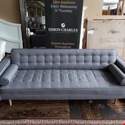 Lot 7 DESIGNER GREY FABRIC 3 SEATER BUTTON BACK SOFA WITH WOODEN LEGS