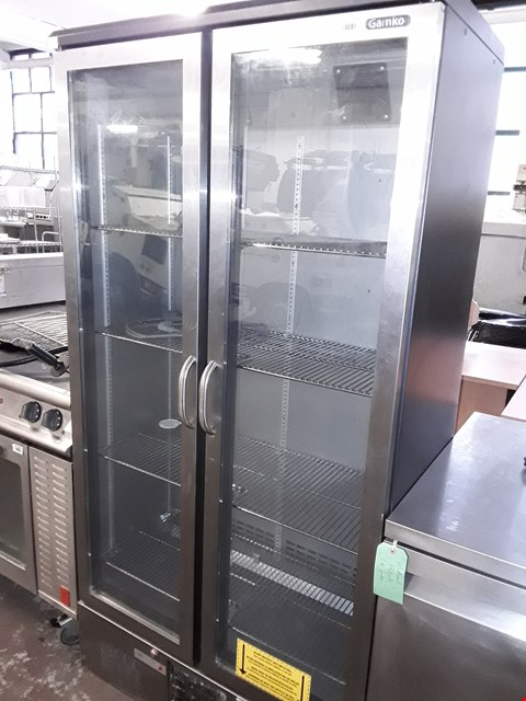 Lot 67 COMMERCIAL GAMKO 2 DOOR GLASS FRONT TALL FRIDGE