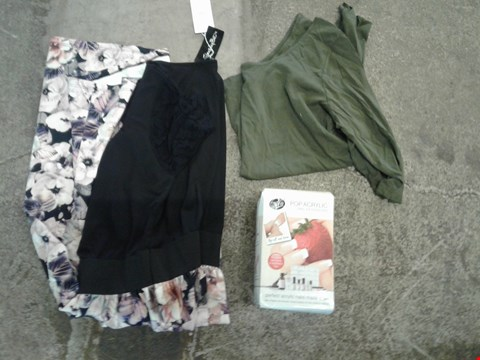 Lot 240 BOX OF APPROXIMATELY 30 CLOTHING AND ACCESSORIES TO INCLUDE POP ACRYLIC NAIL EXTENSIONS, GREEN SHIRT AND BLACK/NUDE FLORAL PATTERN DRESS - VARIOUS SIZES