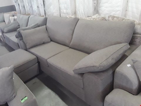 Lot 93 QUALITY BRITISH DESIGNER GREY WEAVE FABRIC NANTUCKET 3 SEATER SOFA WITH ACCOMPANYING STORAGE FOOTSTOOL