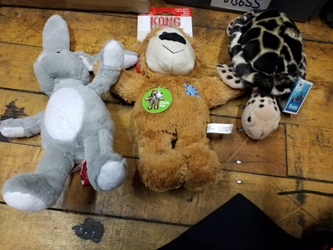 Lot 2042 A BOX OF APPROXIMATELY 12 CUDDLY TOYS TO INCLUDE A TORTOISE CUDDLY TOY, A BEAR WITH NOISE TOY RABBIT CUDDLY TOY