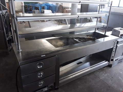 Lot 9038 VICTOR LARGE HEATED SERVING TROLLEY WITH 3 TIERED GANTRY ON 3 DRAWER CUPBOARD BASE