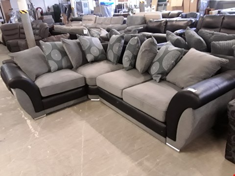 Lot 30 DESIGNER BLACK FAUX LEATHER AND GREY FABRIC DANUBE CORNER SOFA WITH SCATTER BACK CUSHIONS  RRP £1299.00