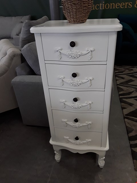 Lot 15 DESIGNER WHITE FINISH ORNATE 5 DRAWER NARROW CHEST