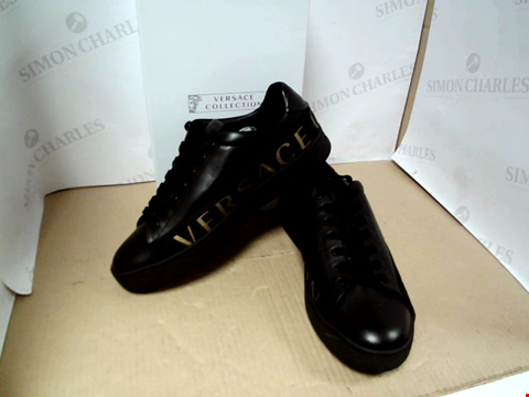 Lot 7130 VERSACE COLLECTION MEN'S LOGO TAPE BLACK TRAINERS - SIZE 10 UK