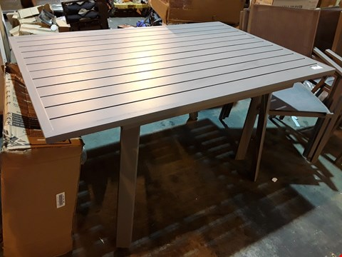 Lot 9093 GREY METAL PATIO TABLE & 8 ARMCHAIRS