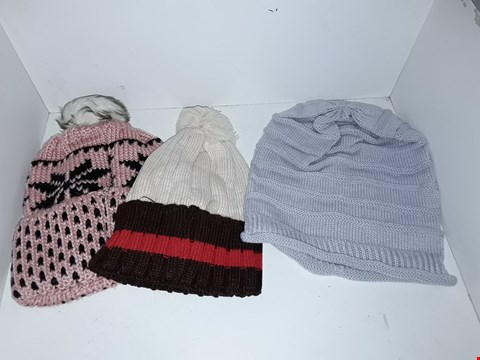 Lot 1025 BOX OF APPROXIMATELY 70 BRAND NEW KNIT HATS TO INCLUDE PLAIN KNIT AND BOBBLE
