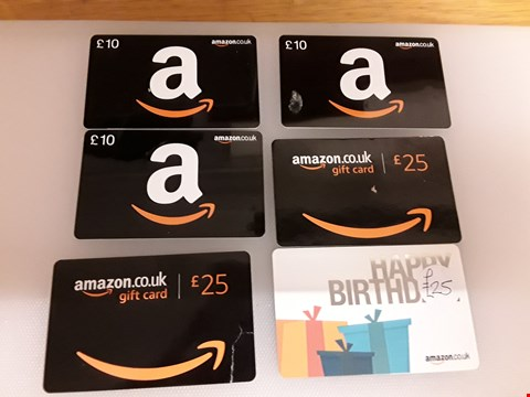 Lot 35 5 ASSORTED AMAZON GIFT CARDS TOTAL VALUE £105