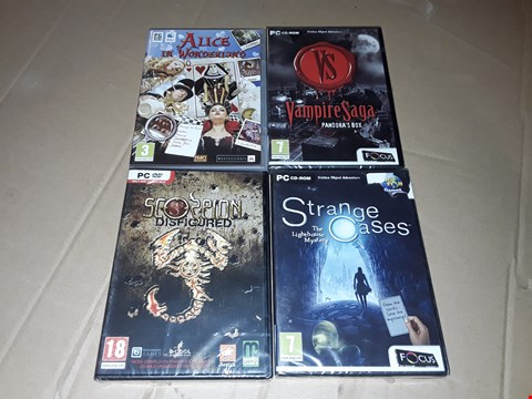 Lot 184 LOT OF APPROXIMATELY 24 ASSORTED PC GAMES TO INCLUDE SCORPION DISFIGURED, VAMPIRE SAGA AND ALICE IN WONDERLAND