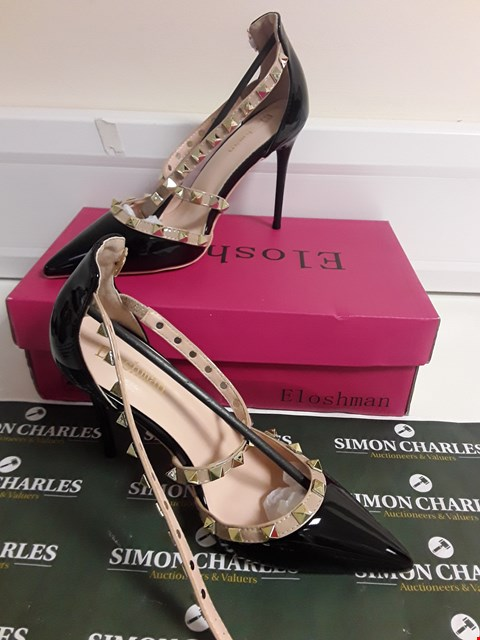 Lot 3095 DESIGNER BOXED PAIR OF PATENT LEATHER STUD EFFECT HIGH HEEL SHOES SIZE EU 36