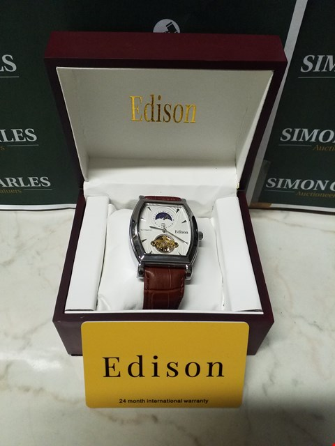 Lot 4555 EDISON SILVER EFFECT CASING & GENUINE LEATHER STRAP MEN'S AUTOMATIC WATCH RRP £599.00