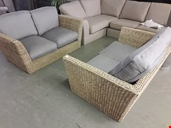 Lot 2038 QUALITY BRITISH DESIGNER NATURAL RATTAN SUITE, COMPRISING, 2 × TWO SEATER SOFAS & EASY CHAIR