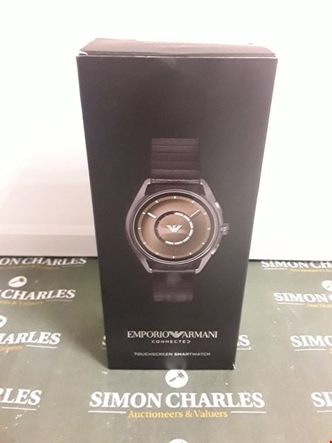 Lot 2337 EMPORIO ARMANI MATTEO SMART SCREEN WATCH IN OLIVE GREEN AND BLACK RRP £449.00