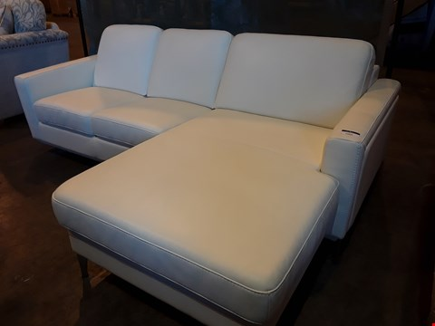 Lot 1005 DESIGNER KLER BEIGE LEATHER THREE SEATER CHAISE SOFA