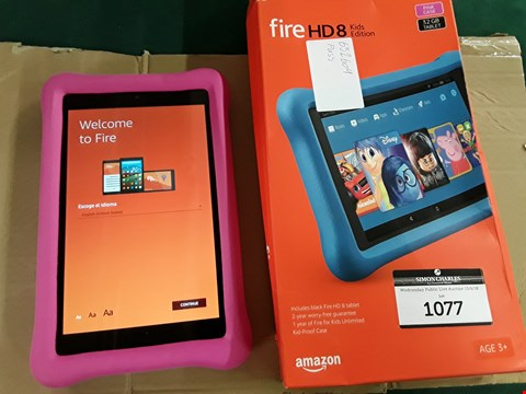 Lot 1077 BOXED AMAZON KINDLE FIRE HD8 KIDS EDITION PINK CASE 32GB TABLET