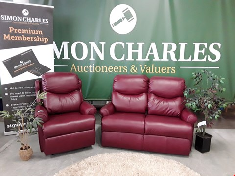 Lot 3004 QUALITY BRITISH MADE, HARDWOOD FRAMED BORDEAUX RED LEATHER 2 SEATER SOFA AND POWER RECLINING ARMCHAIR
