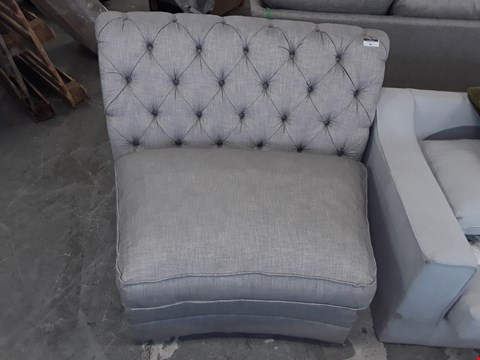Lot 93 QUALITY BRITISH DESIGNER GREY/METAL FABRIC BUTTON BACK SOFA SECTION