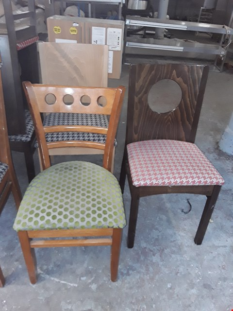 Lot 23 3 X ASSORTED PATTERNED FABRIC WOODEN CHAIRS
