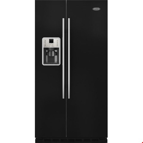 Lot 8591 BRAND NEW BRITANNIA MONTANA GLOSS BLACK FF-MONTANA-B AMERICAN FRIDGE FREEZER SAC-2219