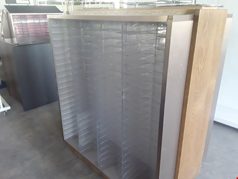 Lot 2012 DOUBLE SIDED WOODEN DISPLAY UNIT WITH PLASTIC SHELVING