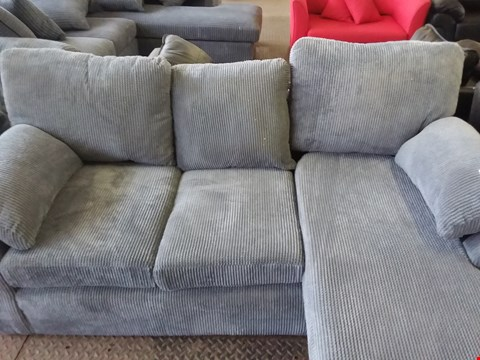 Lot 79 DESIGNER GREY CORD FABRIC 3 SEATER SOFA AND ARMCHAIR