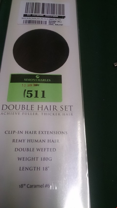 "Lot 1511 BEAUTY WORKS DOUBLE CLIP IN REMY HUMAN HAIR EXTENSIONS 18"" CARAMEL RRP £180.00"