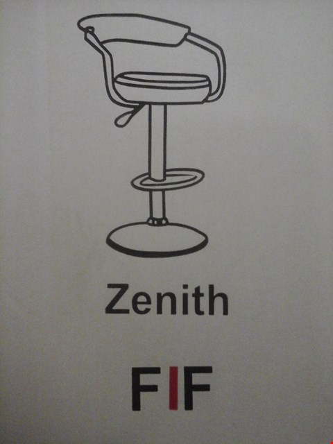 Lot 6026 FURNITURE IN FASHION 2 ZENITH GAS BAR STOOLS IN BLACK ( 1 BOX )