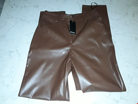 Lot 4086 NASTY GAL PU HIGH WAIST WIDE LEG TROUSERS IN CHOCOLATE- SIZE 8