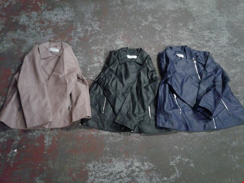 Lot 753 BOX OF APPROXIMATELY 10 ASSORTED STOLEN HEART STRETCH FAUX LEATHER ZIP THOUGH JACKETS - VARIOUS SIZES AND COLOURS