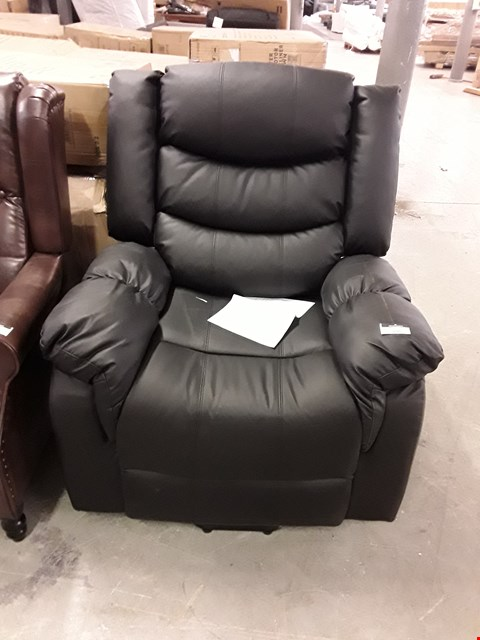 Lot 100 DESIGNER BLACK LEATHER RISE AND RECLINE ARMCHAIR