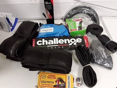 Lot 40 TRAY OF ASORTED CYCLE INNER TUBES, TYRES & REPAIR KITS (TRAY NOT INCLUDED)