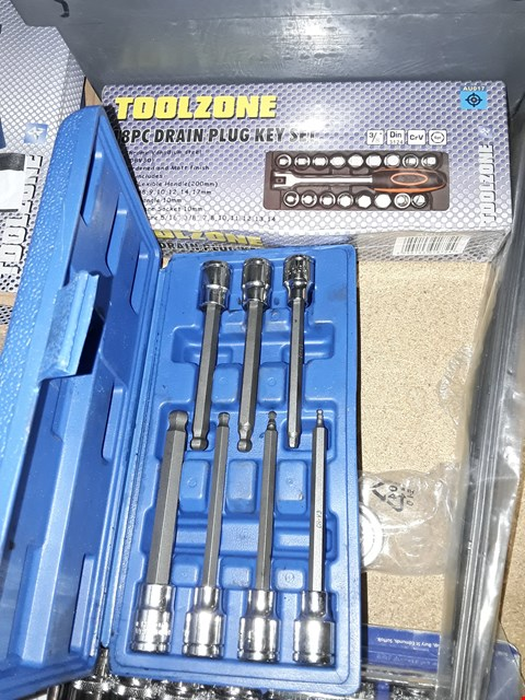 Lot 3014 TWO TOOLZONE SETS, 18PC DRAIN PLUG & 7PC EXTENDED HEX DRIVE