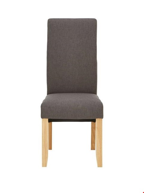Lot 15 BOXED PAIR OF DESIGNER CHATHAM GREY FABRIC AND OAK-EFFECT DINING CHAIRS (1 BOX) RRP £149