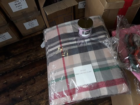 Lot 137 4 BOXES TO AMOUNT TO APPROXIMATELY 22 ITEMS TO INCLUDE,  PINK FLEECY BED JACKET , PINK CHECKED SCARVES AND WAX LYRICAL CANDLES ETC
