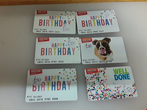 Lot 39 6 ASSORTED ONE 4 ALL GIFT CARDS TOTAL VALUE £200