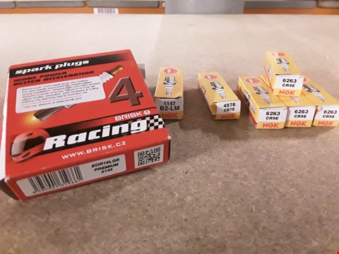 Lot 3009 SPARK PLUGS, INCLUDING, NGK 6263, KGK 4578, NGK 1147 & 2 × BOXES BRIDK RACING EOR15LGS PREMIUM PLUGS