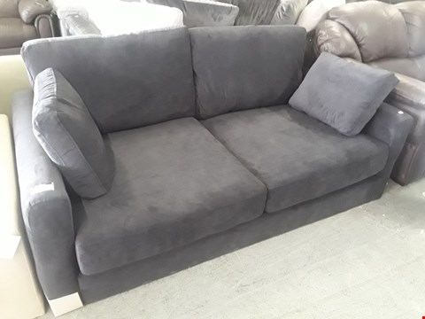 Lot 72 DESIGNER BLACK FABRIC TWO SEATER SOFA WITH BOLSTER CUSHIONS (LEGS NOT FITTED)