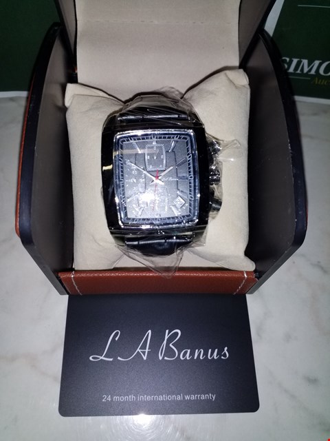 Lot 4557 L. A BANUS BLACK DIAL STAINLESS STEEL CASE CHRONOGRAPH WATCH WITH BLACK LEATHER WRIST STRAP