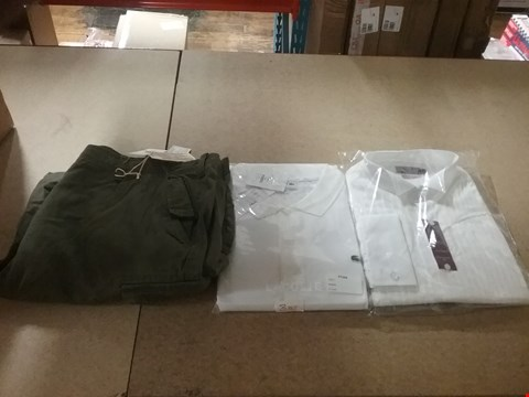Lot 1318 LOT OF 8 BOXES CONTAINING APPROXIMATLEY 158 ASSORTED CLOTHING ITEMS TO INCLUDE WILLIAMS & BROWN GREEN SHORTS, LACOSTE WHITE POLO T-SHIRT AND ITALIAN CLASSICS PURE COTTON LONG SLEEVE SHIRT